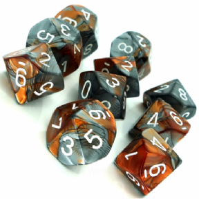 Copper & Steel Gemini D10 Ten Sided Dice Set